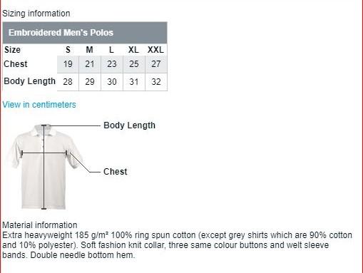 Printvista PoloShirt Size